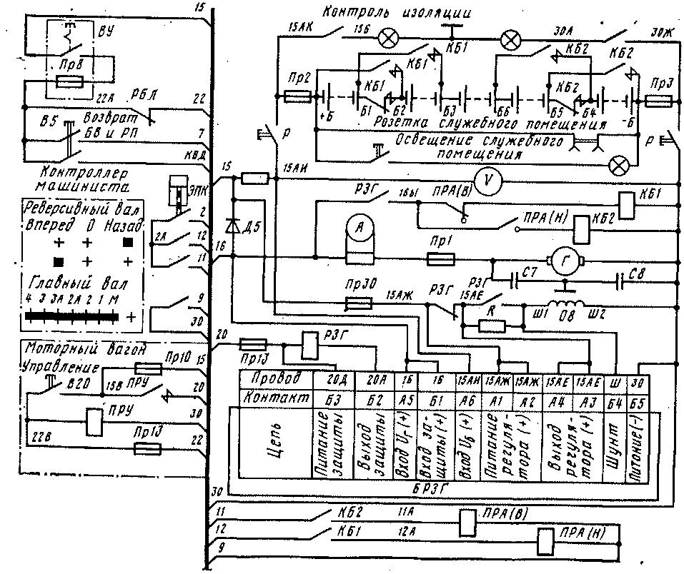 Схема питания цепей управления