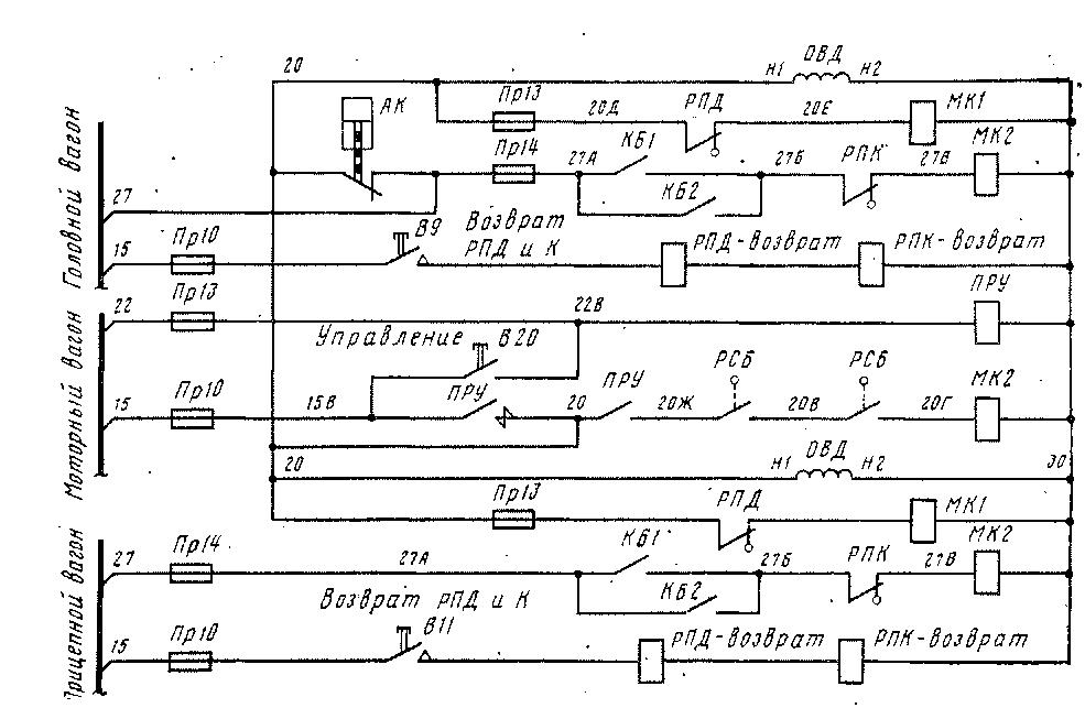 Схема управления контакторами